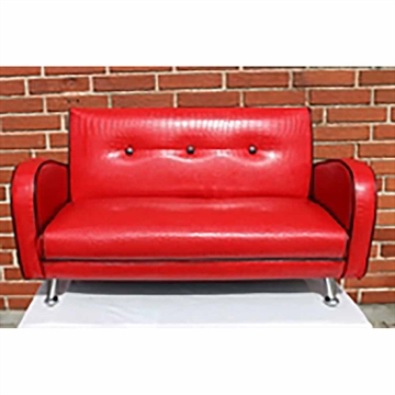 MINI NANCY SOFA RØD M/SORTE BÅND/KANTER
